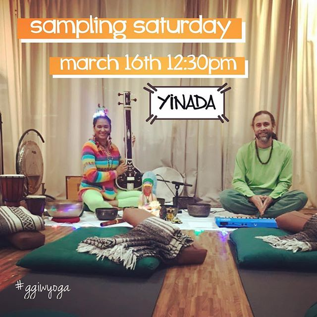 ‪Join us for 🌟Sampling Saturday🌟 with Stefanosis & Jussara. This is a condensed 40 minute sampling, demonstrating style and going over the basics of the class. This gives you the opportunity to try something new at an amazing value! ‬ . ‪. 🎫 GGIW offers 10 *FREE* tickets, and 10 tickets for just $8. *NOTE: A free ticket is available to anyone NEW to GGIW *or* current client who has never tried this style of yoga. $8 tickets are available to anyone, new or current client. ‬ . ‪.🎫 Tickets must be obtained in advance via Eventbrite in our Welcome Link in Bio. ‬ . ‪. 🧘‍♀️ And just what is Yinada? this class combines Yin yoga with Nada, a sacred sound. Yin yoga is passive stretching postures that gently release tension in muscles, joints and fascia-tissue for greater flexibility. Singing bowls are gonged on/around various parts of the body. Healing mantras are incorporated for stress release. Class concludes with a auditory sound bath, sealing in the deep relaxation.‬ ‪.‬ ‪#yin‬ #yinada #yinyoga #soundbowl #singingbowl #singingbowls #tibetanbowls #soundhealing #freeyoga #saturday #saturdayyoga