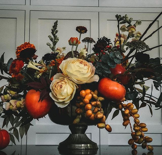 I've said it before, I really love making memorial arrangements. This went to a woman who was an artist, and that deep reddish orange persimmon color was her favorite. I love being able to make something that reflects and honors a loved one.