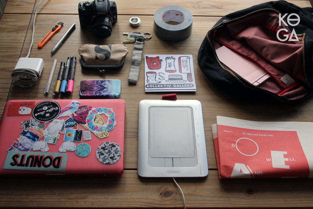 The rucksack of a revolutionary pop up gallery curator and director, Brighton