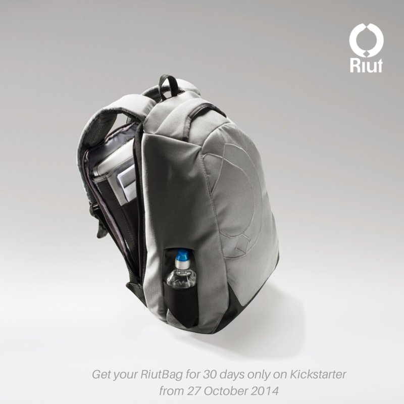 "RiutBag prototype with 15"" laptop and bottle holder"