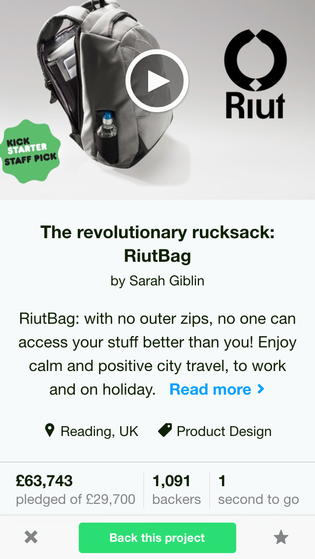 RiutBag 1 second before funded