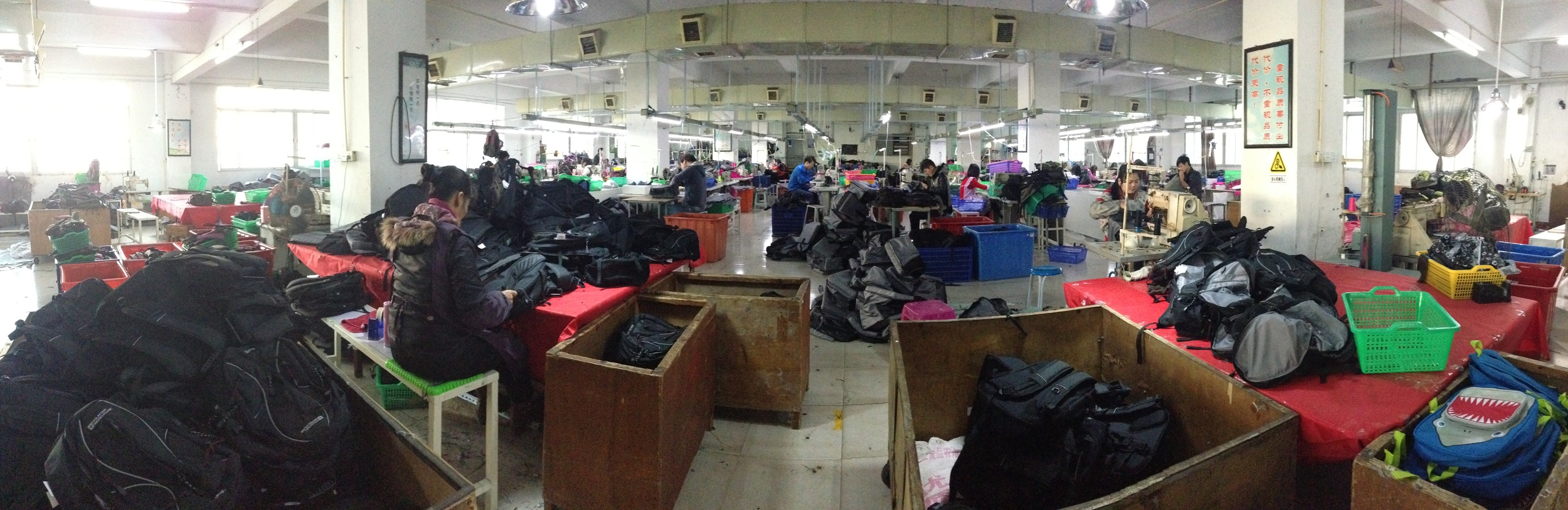 Production line for bags. Textiles factory China December 2014