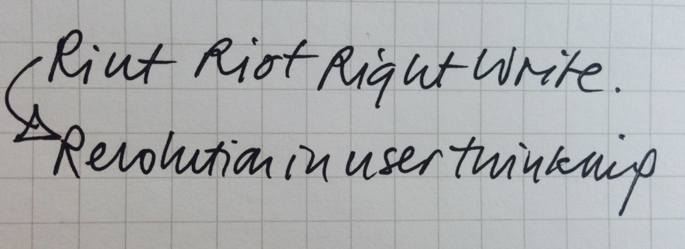 Riut Riot Right Write Revolution in user thinking