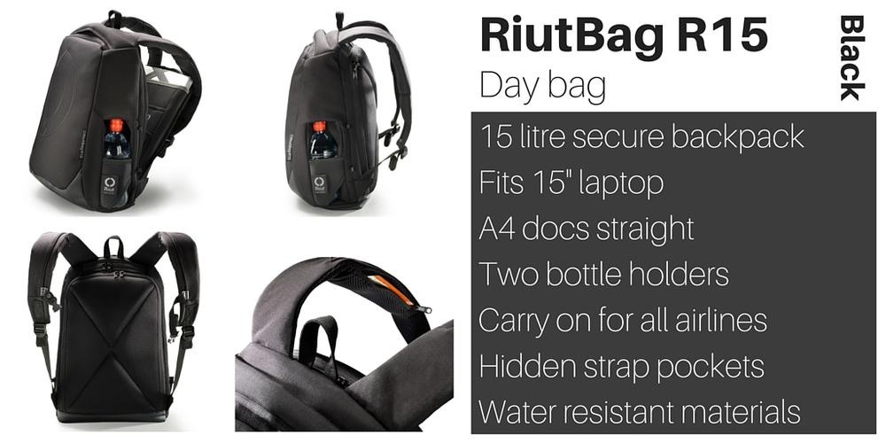 RiutBag R15 black day backpack rucksack Riut