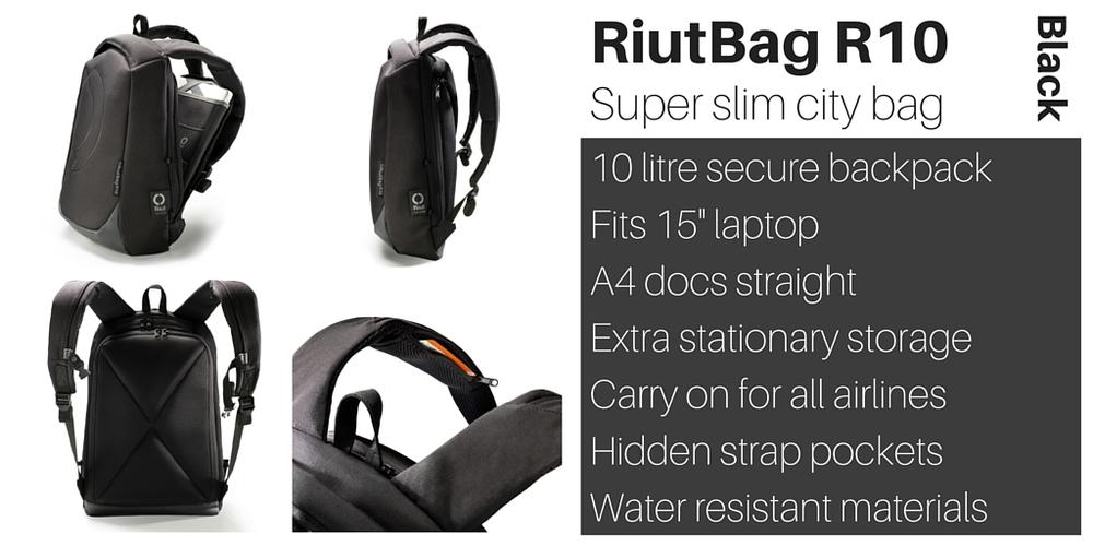 RiutBag R10 super slim laptop backpack Riut black