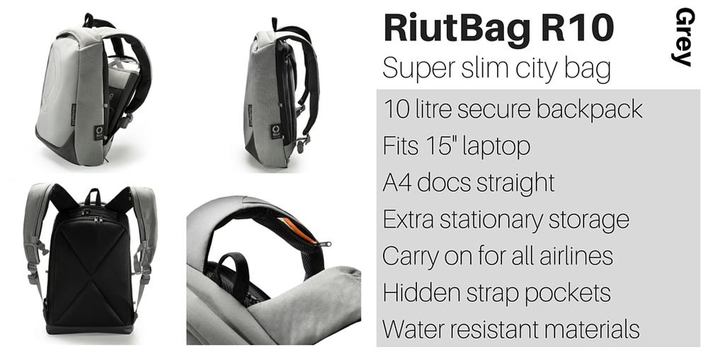 RiutBag R10 super slim laptop backpack Riut Grey