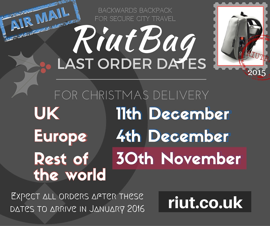 Last order dates on www.riut.co.uk to receive RiutBags before 25th December 2015