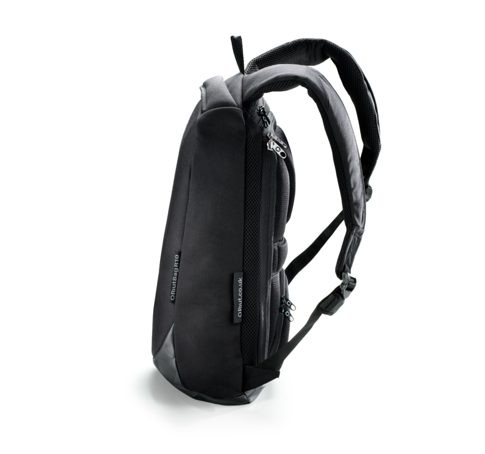 RiutBag R10, 10 litre slim, black laptop backpack with all its zips hidden against your back. Only you can access your belongings. And now you can do it on the go.