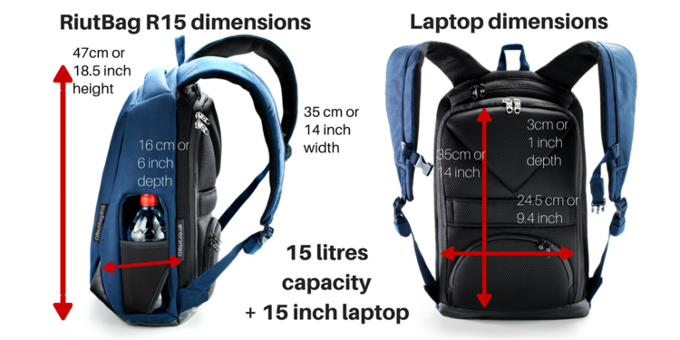 RiutBag R15 | Secure navy blue backpack | 15 litre | for 15 ...