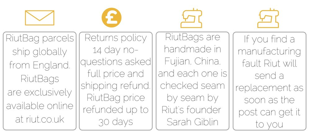 RiutBag returns shipping and replacement policy