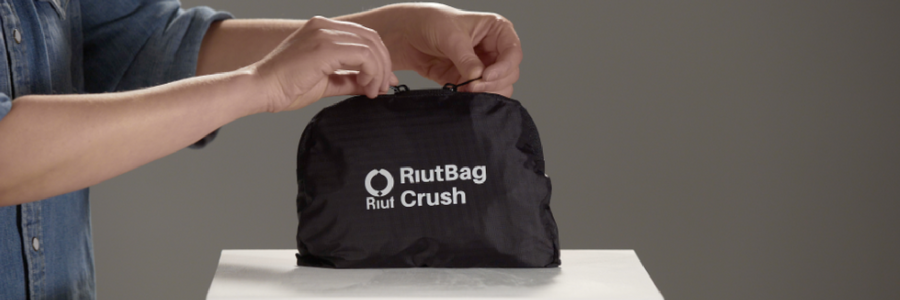 Your RiutBag Crush comes folded in its D-pocket.