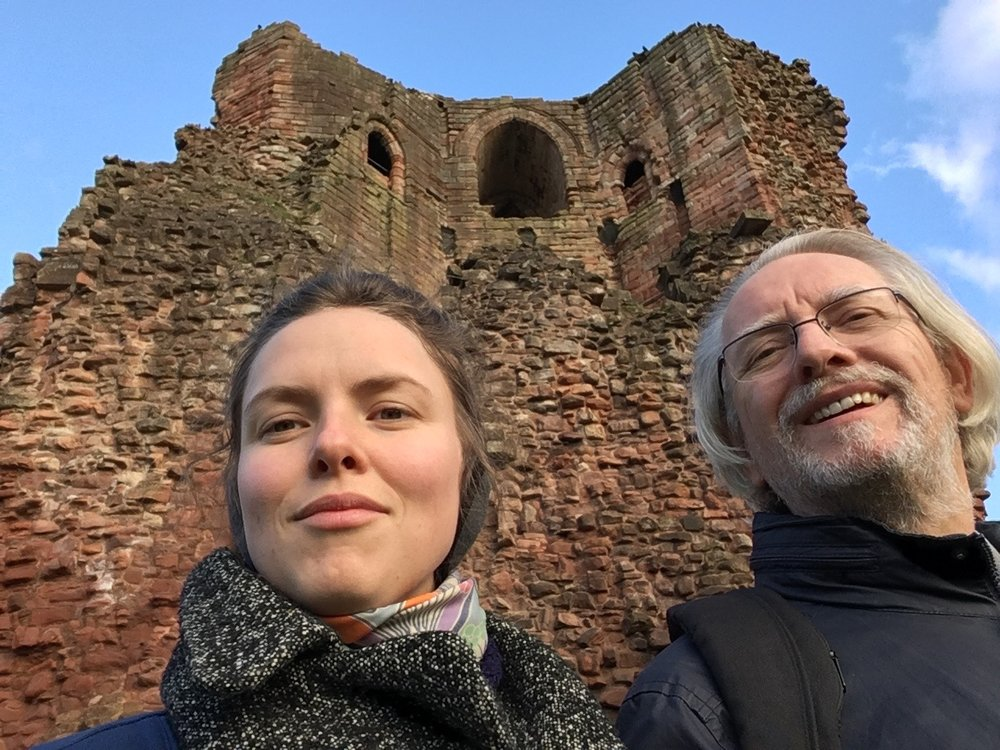 My dad and I at Bothwell Castle on the Clyde in Scotland