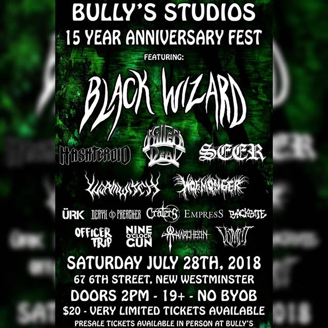 Gig alert: We're playing @bullysstudios anniversary party July 28th! Come down and check this stacked bill with @blackwizboys, @hashteroid and tons more! Limited tickets available at Bully's for $20. . . . #gig #newwestminster #vancouver #britishcolumbia #bullys #localmusic #localbands