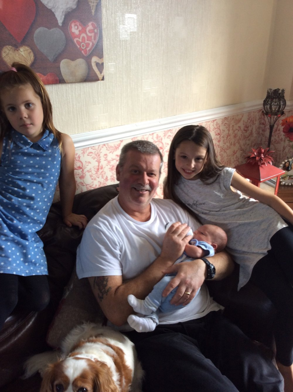 There's Ava, Me and Bubbs, and Macie. You can just see Mollie peeping out the bottom of the photo too...