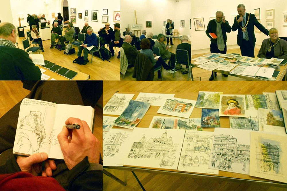 Ed sketched people and scenes within the gallery and passed on tips and ideas to anyone who was interested to find out more about the growing urban sketching art movement. This was a great opportunity to see and be inspired by a selection of Ed's wonderful sketches and sketch pads and everyone was encouraged to get involved and bring along sketch pads and pens and have a go for themselves. All visitors were given a ticket and entered into a prize draw to win one of Ed's sketches the lucky winner was Charlotte Nock.