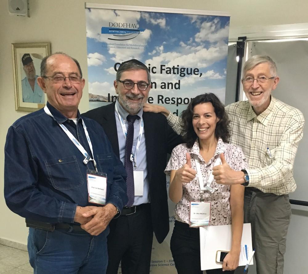 F.v. prof. Zvi Bentwich, dr. Marco Harari, dr. Shiri Meshner og prof. Johan Moan