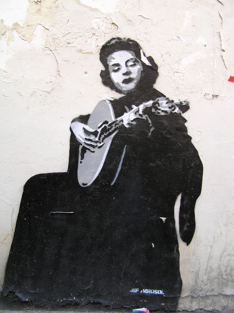 A drawing of Amália Rodrigues in Lisbon. She is considered to be the voice of Portugal, the Queen of Fado.