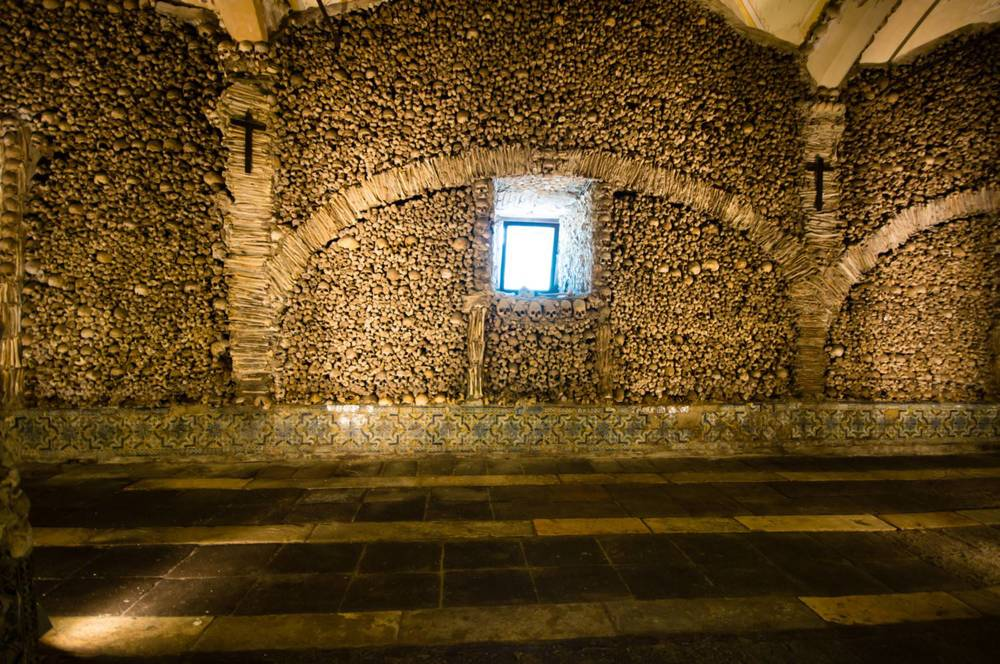 The Temple of the Bones in the Church of St Francis in Evora, Portugal.