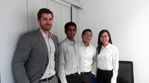 Current interns from the Inhouse Consulting department. Starting left, David, Adithya, me and Luoxia