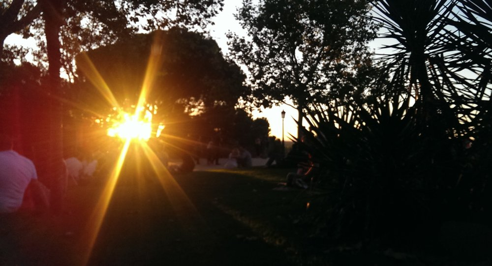 Sunset at the temple's park