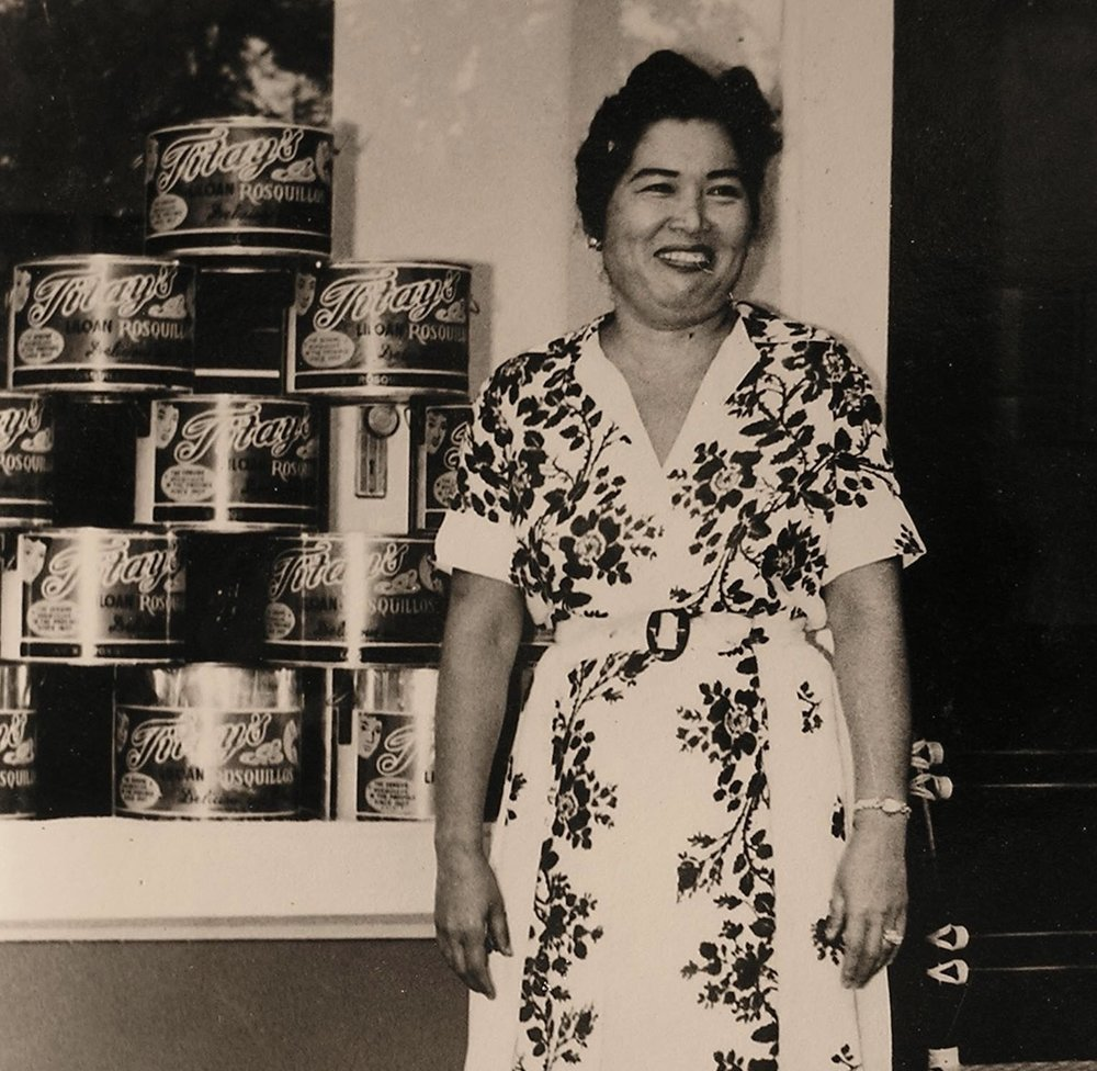 Corazon B. Frasco in front of Titay's original store in Liloan. ca 1960s