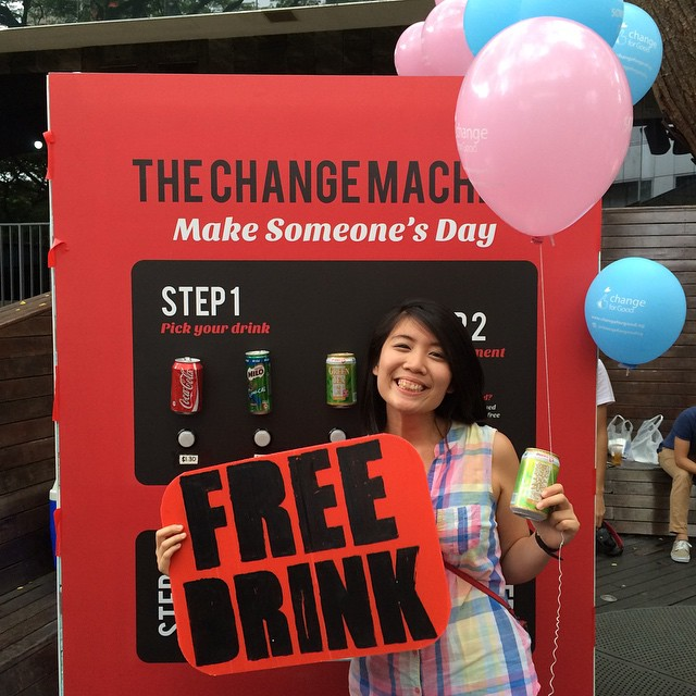 @chrissssaye got a free drink :) courtesy of @nong.hui and @katelzq ! Awesome! 😁 Follow our main account @changeforgoodsg for more information on our project :)