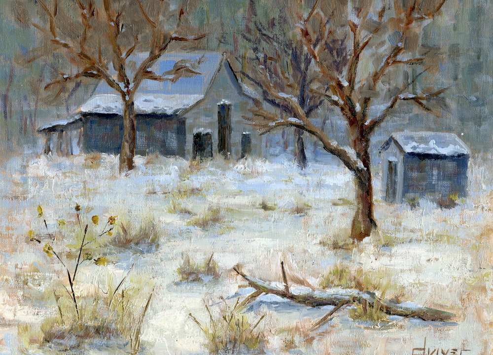 """""""Davis Rd. Snow and Barn""""    9x12   Oil on linen panel   In private collection, Palmyra, VA"""