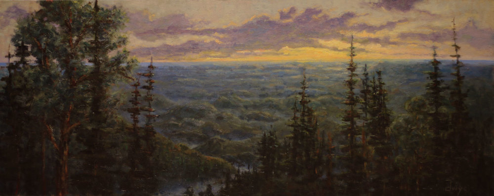 """""""Looking West To Tennessee""""     1 8x40   Oil on stretched canvas   In collection of artist"""