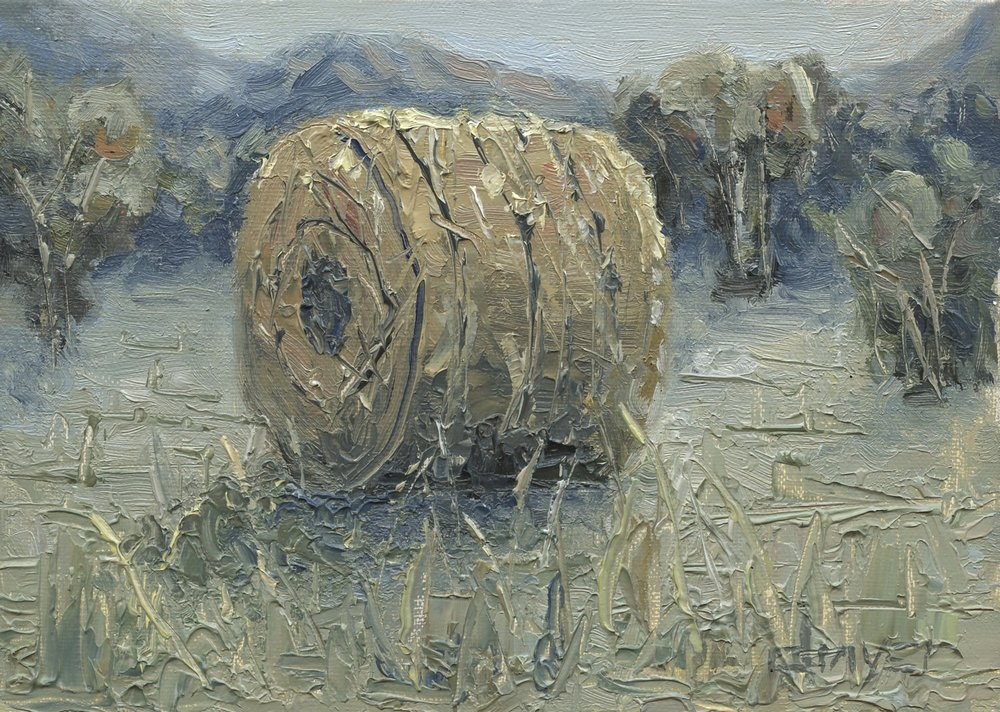 """""""Hay Roll""""    8x10   Oil on linen panel   Available through  email"""