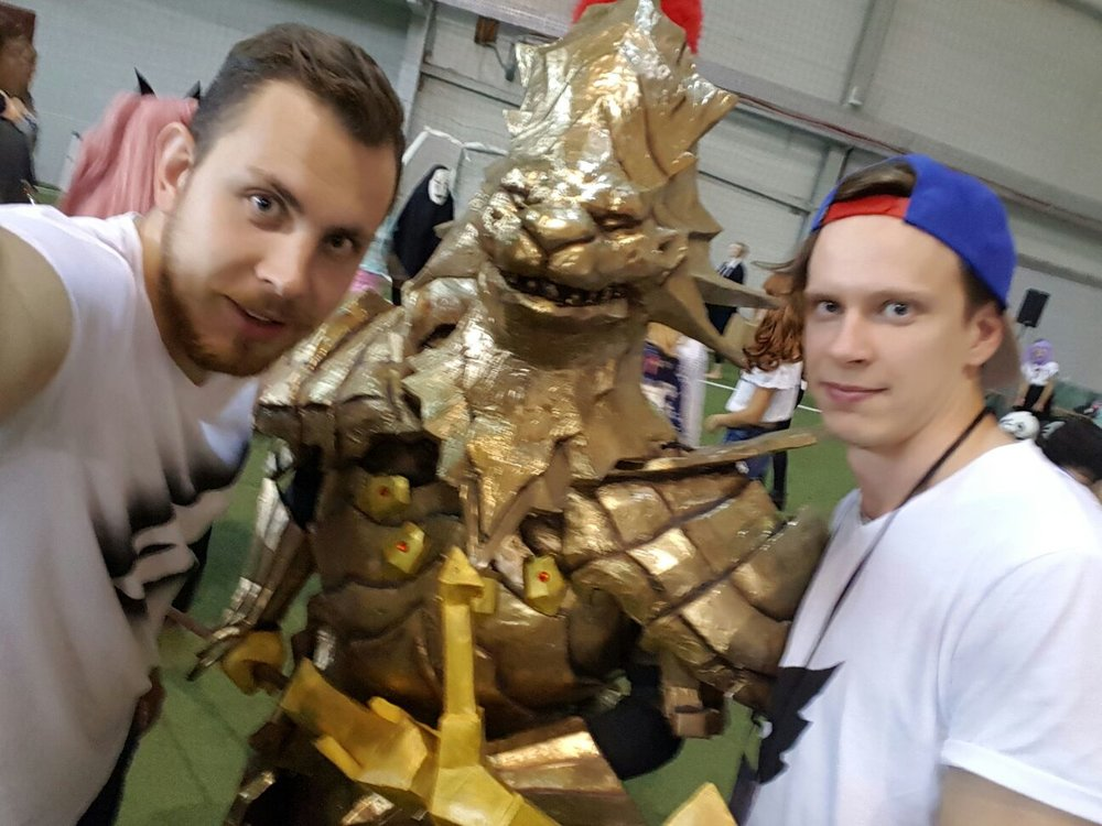 Matejs and Kristaps with a knight