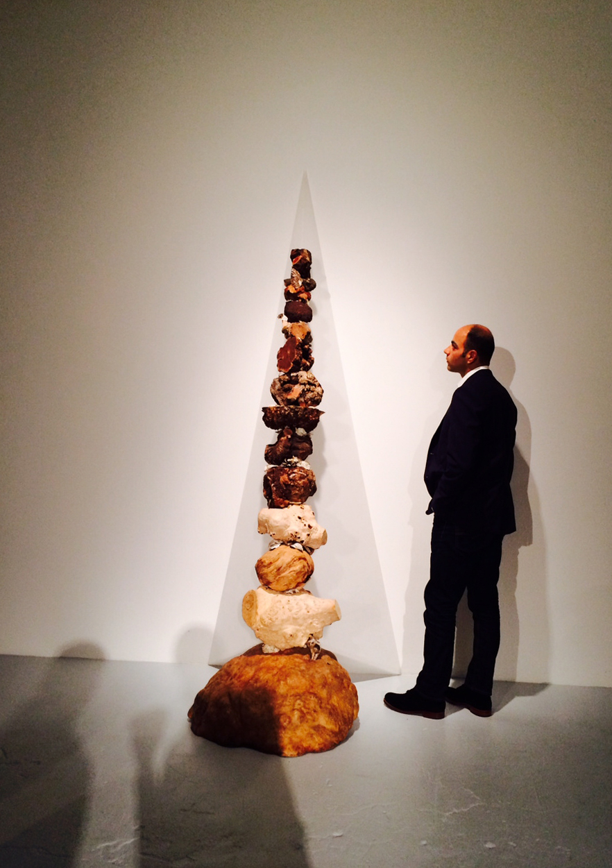 Chris Sheller quietly contemplating Bamburg's sculpture. With ghosts.