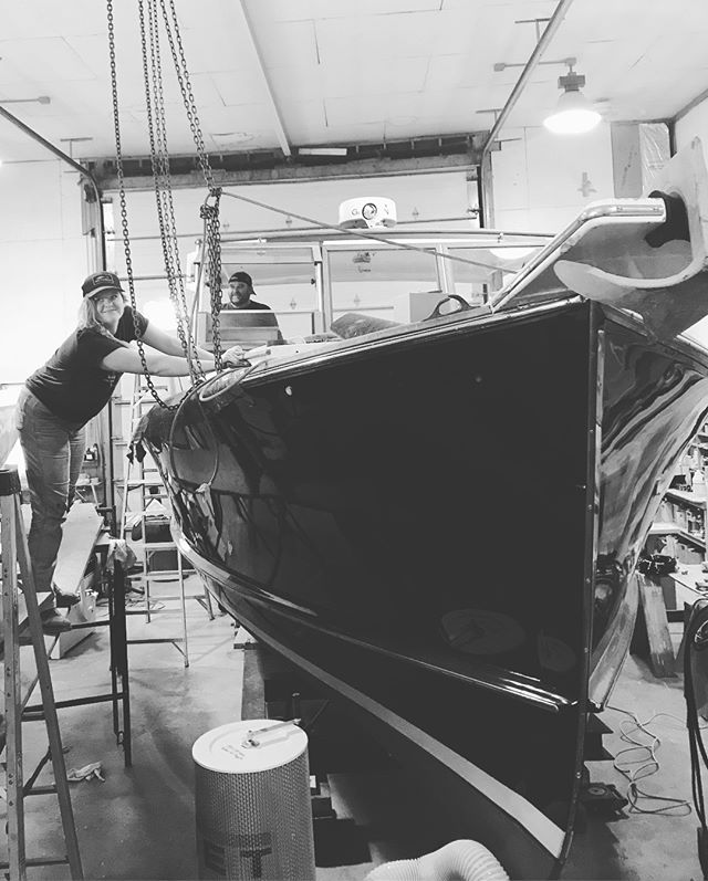 B&W today on this foggy gray Friday! Mac & Tainter getting ready to paint, Jonah is a sanding machine, efficient tiller varnishing strategies, and Josh w not one but TWO pipe wrenches #getrdone #NGboatyard #mainebuiltboats #maineislands