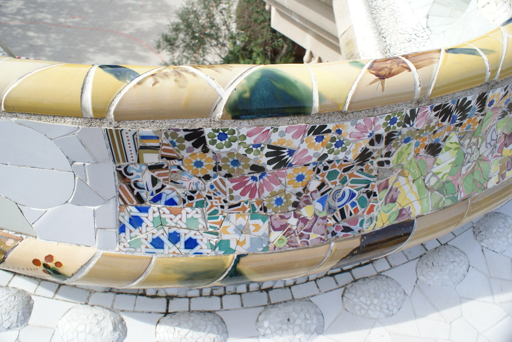 Park Guell boasts some of the most beautiful tiles in all of Spain. With colors and patterns running along the border of the park, you can see where the master Gaudi was headed with his grand mosaic plans for this unfinished community.