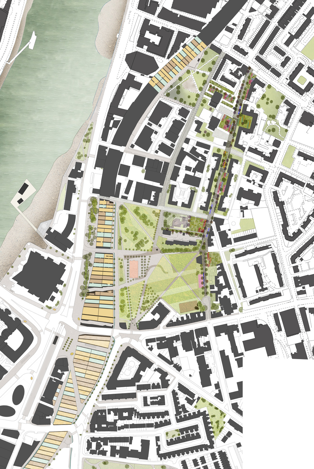 The Proposed Linear Park joining several green spaces in Prince's Ward