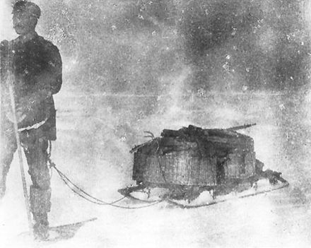 Photograph of Strindberg with a sledge, 1897
