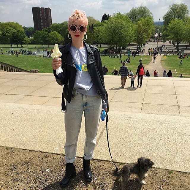 So much awesome @femmehq rocking #KNGLxTRRBL with her pooch today 💘🐶🍦