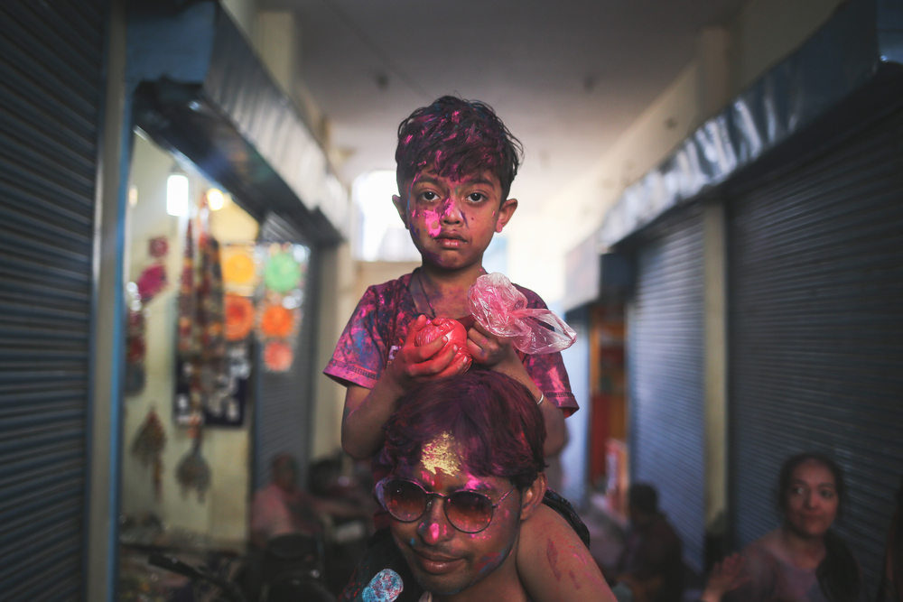 Vrindavan, India - March 23rd, 2016: Portrait of a child on the day before Holi.