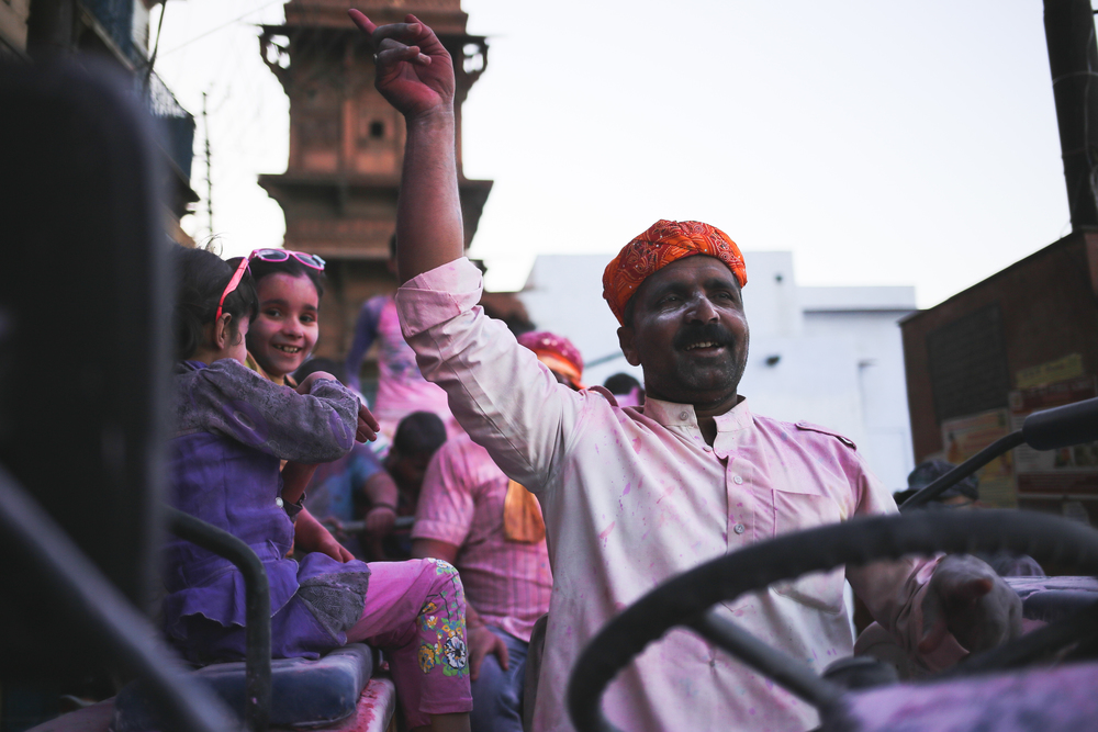 Mathura, India - March 24  th, 2016:  The kids love the festivities on Holi.
