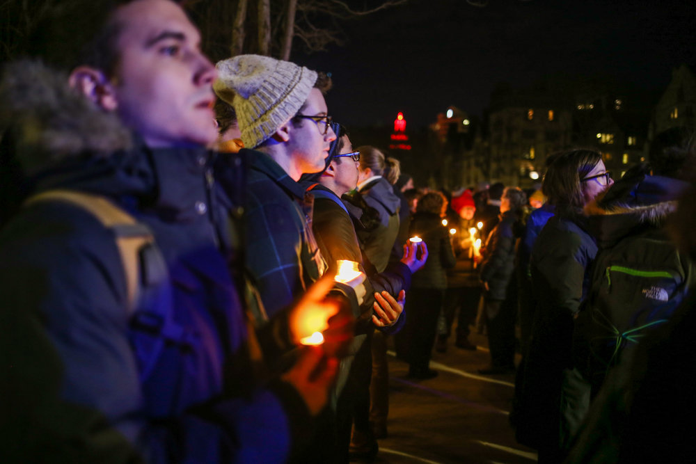 New Haven, Connecticut - January 29th, 2017: Vigil held for immigrants and refugees at Yale University.