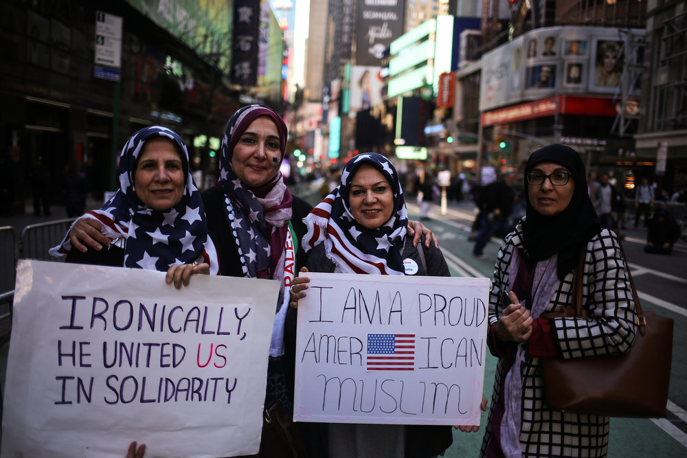 Lovely Muslim ladies show their support at the I Am A Muslim Too rally in Times Square //  February 19th, 2017 // New York City.