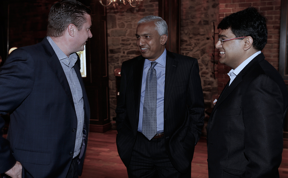 Networking with VIP guests at a client event