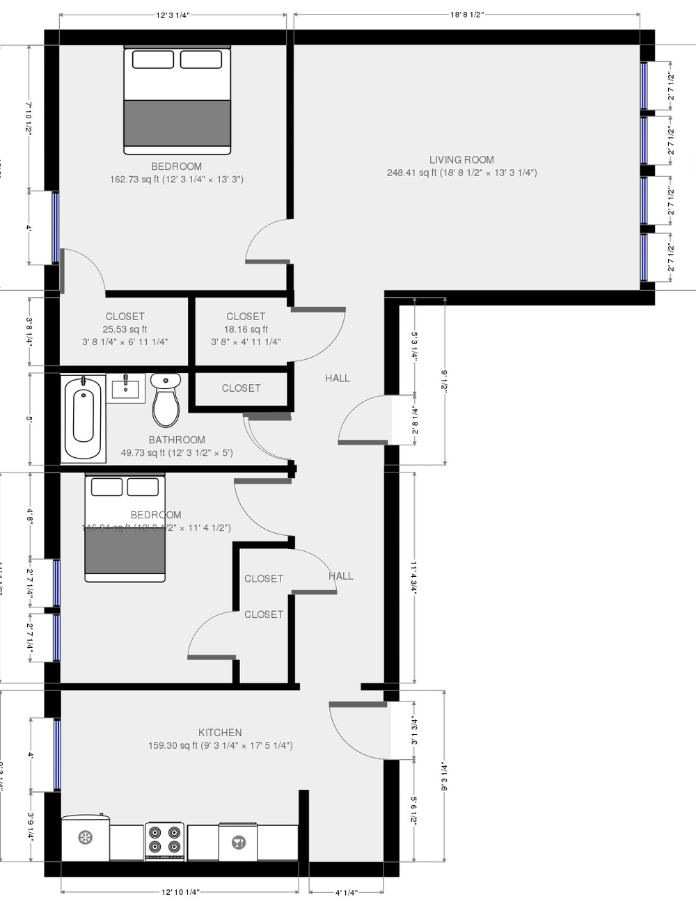 Typical Floor plan for 1647 East Units