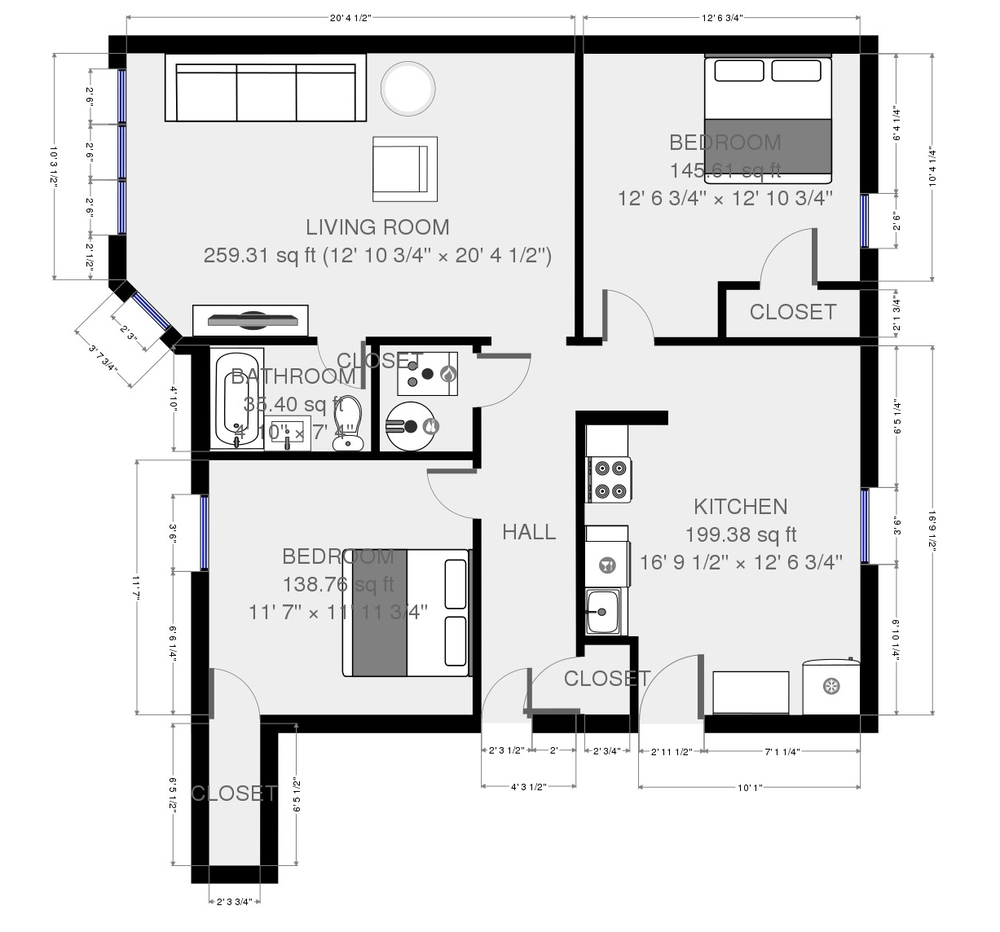 Typical Floor Plan of 1645 East Units and 1647 West Units