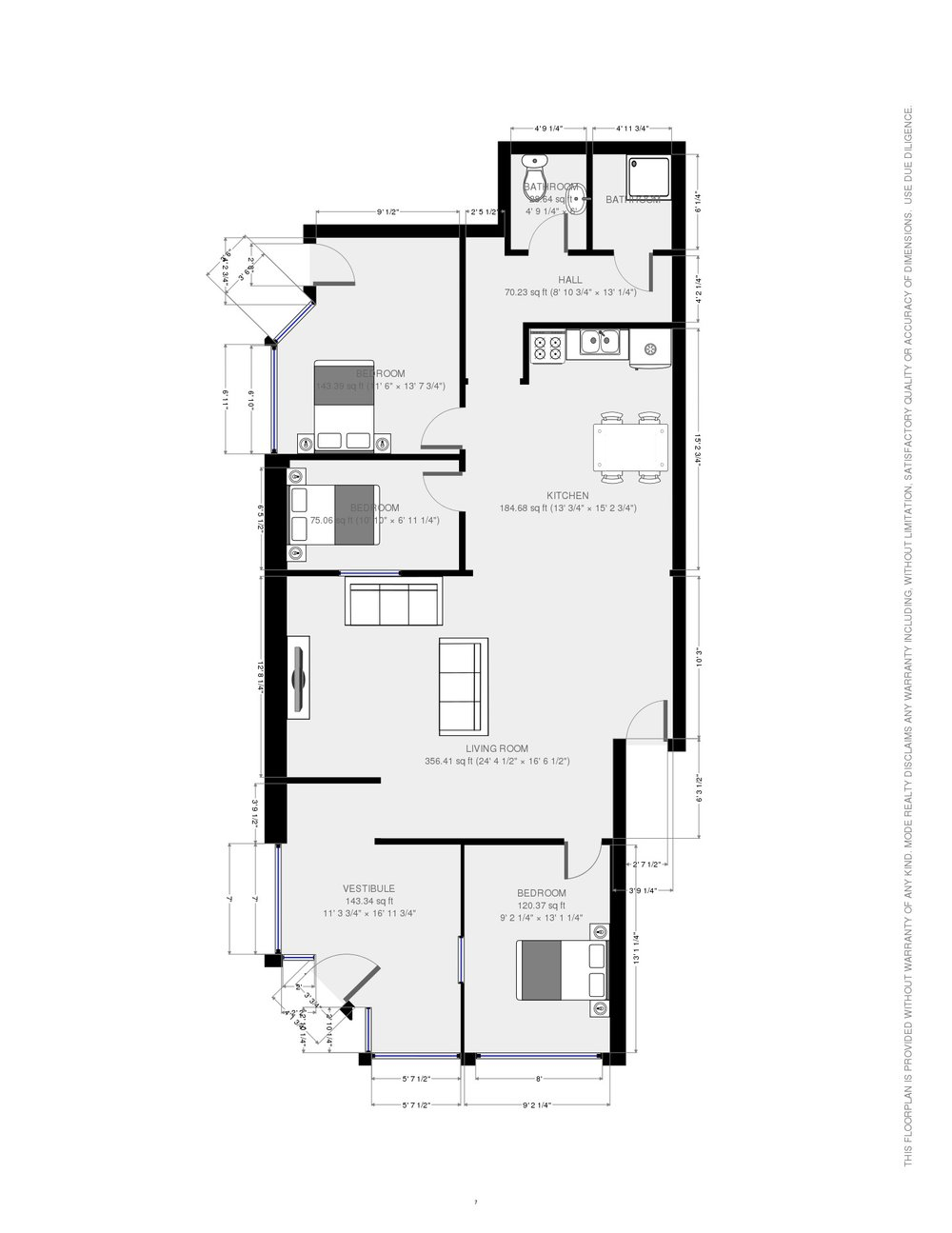 1F Storefront Plan Queen sized beds in bedrooms with night stands  (BIG BEDROOMS)