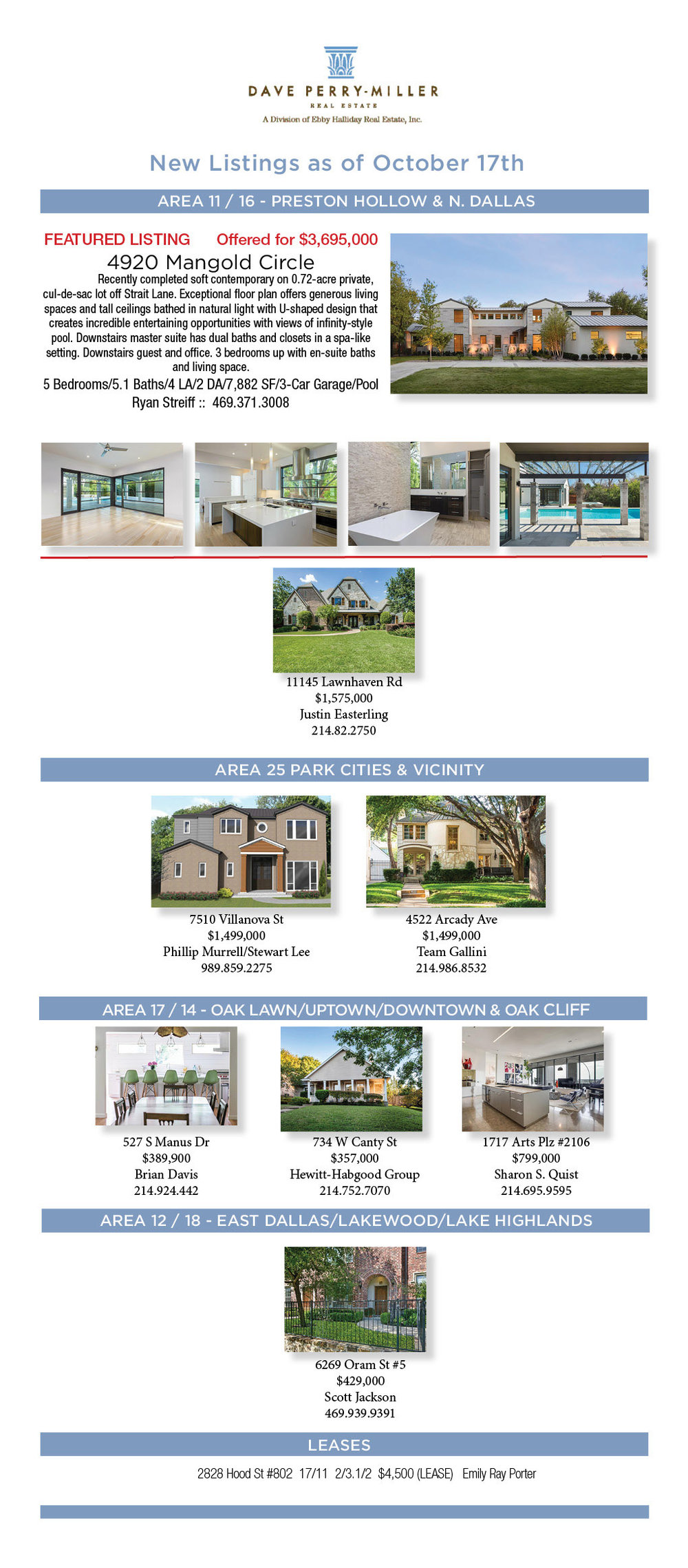 Dave Perry Miller Real Estate New Listings Tuesday October 17th