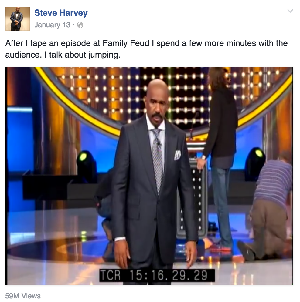 "Steve Harvey's 2nd ""Jump"" video became a viral sensation, with over 59 million people views on Facebook alone."