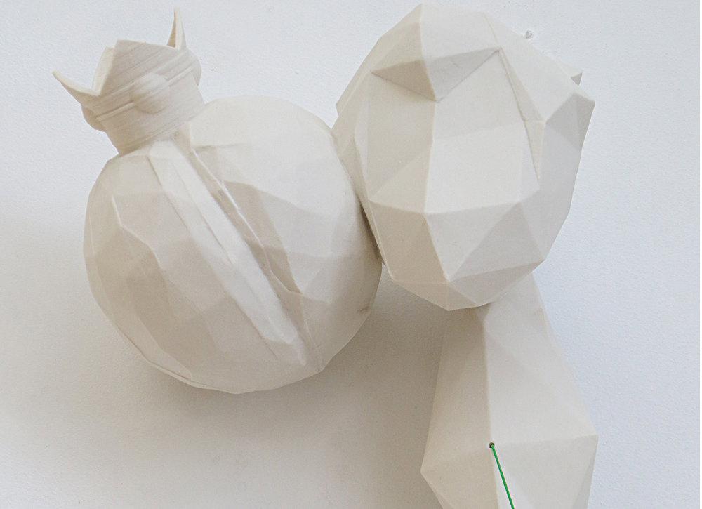 "2014, W35""xH32""xD14"", 3D printed porcelain, cast porcelain, elastic.  More info. about this piece."
