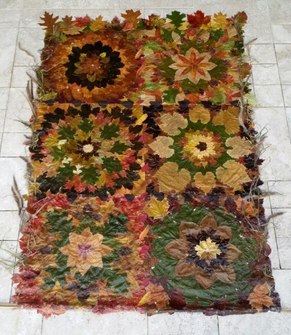 Quilt made of real leaves by Nancy Zimmerman