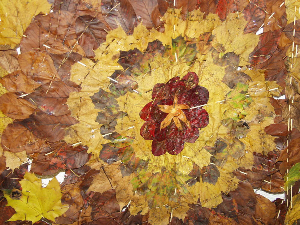 Quilt made of leaves. Detail.