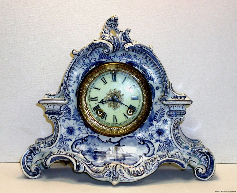 18th Century Delft Porcelain Clock